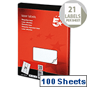 5 Star Address Laser Labels 635 x 381mm White (2100 Labels)