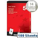 5 Star Laser Address Labels 99.1x38.1mm White (1400 Labels)