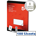 Laser Labels 8 per Sheet 99.1x67.7mm White 800 Labels 5 Star