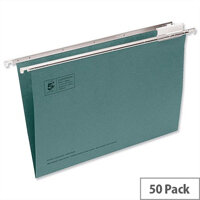 Green Office Suspension File Foolscap Heavyweight with Tabs and Inserts Foolscap 5 Star, Foolscap Size of 365mm, Base: V/15mm, 225gsm Manilla Material, Capacity: 150 Sheets, (Pack of 50)