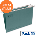 Foolscap Green Suspension File Heavyweight with Tabs and Inserts Pack 50 5 Star