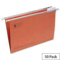 Red Office Suspension File Foolscap Heavyweight with Tabs and Inserts 5 Star Pack 50