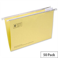 Yellow Office Suspension File Foolscap Heavyweight with Tabs and Inserts 5 Star Pack 50