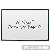 Whiteboard Lightweight 1200 x 900mm 5 Star – Wall-Mountable, Accessory Kit, Non-Magnetic, Graphite Frame, Home Or Office, Drywipe & Wall Fixing Method (296980)
