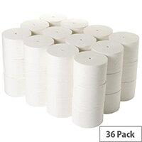 2Work Coreless Compact Dispenser Toilet Paper Rolls Refills 95mm x 96m 800 Sheets White Pack 36 TWH900