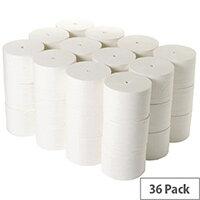 2Work Coreless Compact Dispenser Toilet Paper Rolls Refills 95mm x 96m 800 Sheets White Pack 36 TWH900