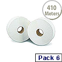 2Work Jumbo Dispenser Roll 2-Ply White 92mm x410 Metres 76mm Core Pack of 6 J27410