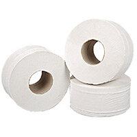 2Work Mini Jumbo 76mm Core Dispenser Toilet Paper Rolls Refills Roll 2-Ply White 92mm x200m Pack of 12 J27200