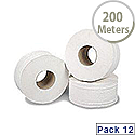 2Work Mini Jumbo Dispenser Roll 2-Ply White 92mm x200 Metres 76mm Core Pack of 12 J27200