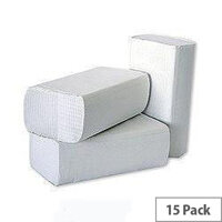 2Work White 1 Ply Multi-Fold Paper Hand Towels 200 Towels Per Sleeve 15 Sleeves (3000 Sheets) HT8301