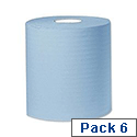 2work Centre Feed Cleaning Roll 2-Ply 150 Metre Blue Pack of 6 C2B150