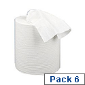 2Work Centre Feed Cleaning Roll 2-Ply 150 Metre White Pack of 6 C2W150