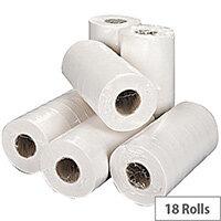 2Work Dispenser Hygiene Paper Rolls 2-Ply 250mm x 40 Metres White Rolls Pack of 18 H2W240