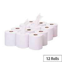 2Work Dispensers Mini Centre Feed Cleaning Paper White Rolls 1-Ply 120m Pack of 12 KF03784 C1W120