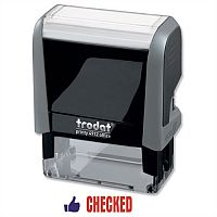 Trodat Checked Stamp Red and Blue Self-inking 18x46mm 54295