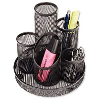 Mesh Pencil Pot 5 Tube Black Osco