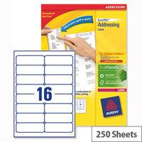 Avery L7162-250 Address Labels Laser 16 per Sheet 99.1x33.9mm White 4000 Labels