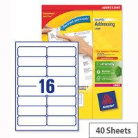Avery L7162-40 Address Labels Laser 16 per Sheet 99.1x33.9mm 640 Labels