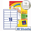 Avery L7162-40 Address Labels Laser 16 per Sheet 99.1x33.9mm 640 Labels