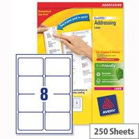 Avery L7165-250 Address Labels Laser 8 per Sheet 99.1x67.7mm White 2000 Labels