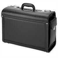 Multi-Comparment Pilot Case 2 Combination Locks Leather-Look Black Alassio Genova