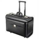 Leather Pilot Case Trolley Black Laptop Compartment 2 Combination Locks Alassio Silvana