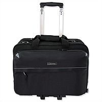 "Business Trolley Bag Black with 17"" Laptop Compartment Nylon Lightpak"