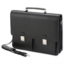 "Leather Laptop Briefcase Black with Organiser Shoulder Strap for 15.4"" Alassio Vento"