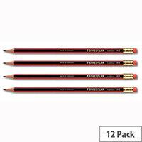 Staedtler HB Pencil with Eraser Pack 12