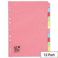 12-Part Subject Dividers A4 Multipunched 5 Star