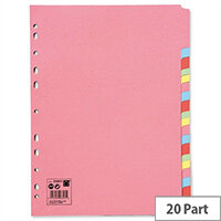 20-Part Subject Dividers Multipunched A4 Assorted 5 Star