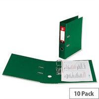 5 Star Office Lever Arch File Polypropylene Capacity 70mm A4 Green Pack of 10