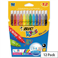 Bic Kids Couleur Pens Washable Felt Tip Assorted Pack 12