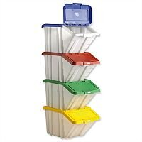 Barton Storage Container Bin 50L 30kg Load White and Assorted Lids Pack 4