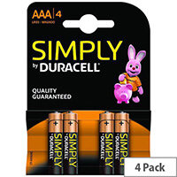 Duracell Simply MN2400B4S Battery AAA type Alkaline x 4