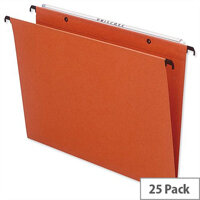 Bantex Linking Vertical Suspension File Foolscap Orange Square Base 30mm Pack 25