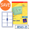 Avery J8565-25 Clear Address Labels 8 per Sheet 99.1x67.7mm 200 Labels