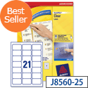 Avery J8560-25 Clear Address Labels 21 per Sheet 63.5 x 38.1mm 525 Labels