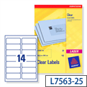 Avery L7563-25 Clear Address Labels Laser 14 per Sheet 99.1x38.1mm