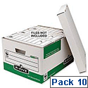 Fellowes Bankers Box Green Archive Storage Box Foolscap Pack 10