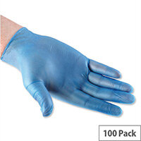 Disposable Powdered Vinyl Gloves Blue Large Box 100 Polyco Bodyguards 4 Ref GL8333