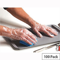 Shield Embossed Polythene Clear Disposable Gloves In Bags Clear Medium Pack of 100 GD52