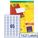 Avery J8651-25 Mini Labels Inkjet 65 per Sheet 38.1 x 21.2mm White 1625 Labels