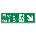 Fire Exit Down Right Arrow Sign 200 x 600 mm