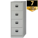 4 Drawer Steel Filing Cabinet Lockable Grey Trexus