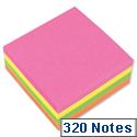 Sticky Notes Cube Pad of 320 Sheets 76x76mm Neon Rainbow 5 Star
