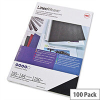 GBC LinenWeave Binding Covers 250gsm A4 Black Pack 100