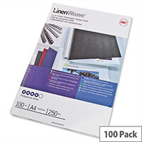 GBC LinenWeave Binding Covers 250gsm A4 White Pack 100