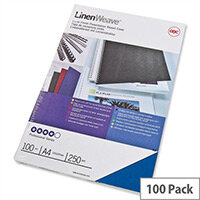 GBC LinenWeave Binding Covers 250gsm A4 Blue Pack 100