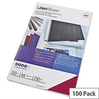 GBC LinenWeave Binding Covers 250gsm A4 Red Pack 100